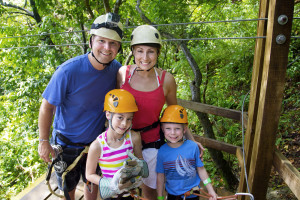 Family enjoying a Zipline Adventure on Vacation